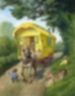 Gipsy Caravan On The Open Road Chris Dunn Illustration Wind In The Willows Toad Ratty Mole