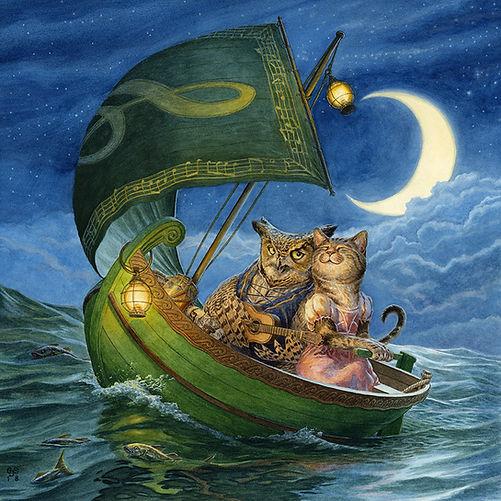 The Owl and the Pussy-Cat Chris Dunn Illustration Nursery Rhyme Art