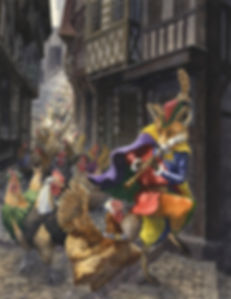 Pied Piper by Chris Dunn Illustration. A fox leads a line of hens through a medieval street