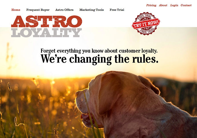 Astro Loyalty identity and website created by Random Thought Studio