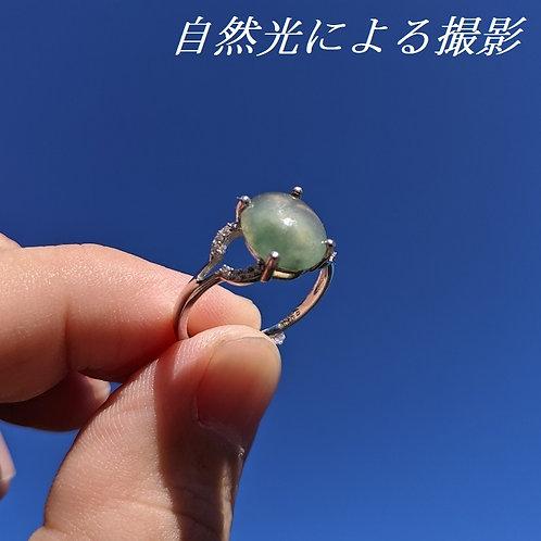 【宝石ソーティング付】天然本翡翠使用 ミャンマー産 ヒスイ 10.2×8.7×3.4mm シルバー 925 調節可能 フリーサイズ リング 指輪【VI-22】
