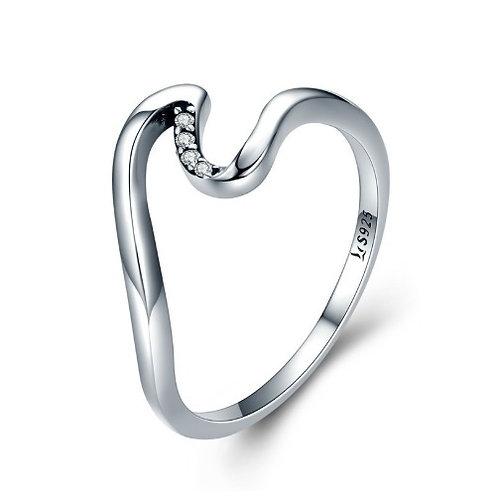 幾何 デザイン 水の波 スターリングシルバー 925 指輪 リング レディース【E-150】
