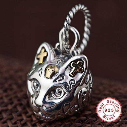 スターリングシルバー 925 ペンダントトップ (チェーンなし) 猫 ヘッド レトロ ネコ Sterling Silver ギフト ネックレス【E-113】