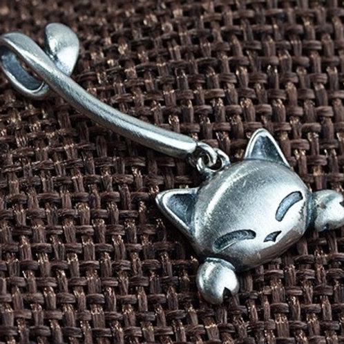 ロングテール 猫 ネコ スターリングシルバー 925 ペンダントトップ チャーム レディース【E-116】
