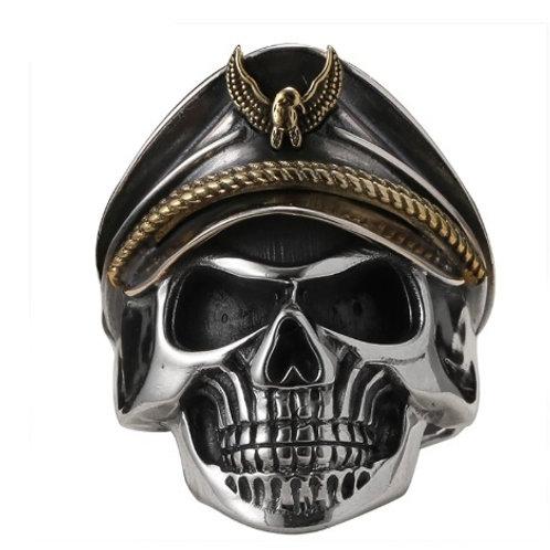 スカルリング サイズ調整可能 鷲 イーグル 髑髏 ドクロ ドイツ 帽子 スターリングシルバー 925 指輪 メンズ【E-102】