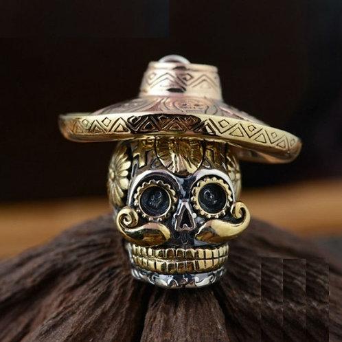 スカル メキシカン 頭蓋骨 髑髏 ドクロ 帽子 スターリングシルバー 925 ペンダントトップ チャーム メンズ【E-98】