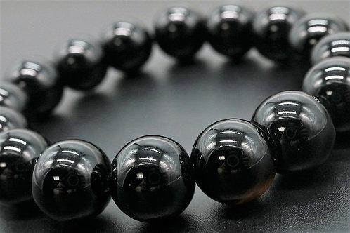 天然石 黒瑪瑙 ブラック オニキス 約12mm ブレスレット ジュエリーボックス付き パワーストーン 魔除けの石 運動能力【E-78】