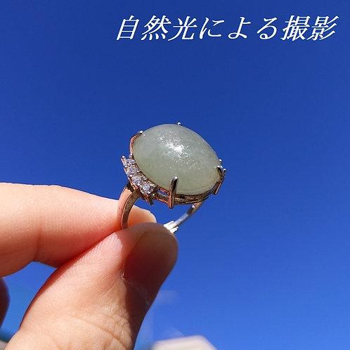 【宝石ソーティング付】天然本翡翠使用 ミャンマー産 ヒスイ 16.6×14.4×5.3mm シルバー 925 調節可能 フリーサイズ リング 指輪【VI-24】