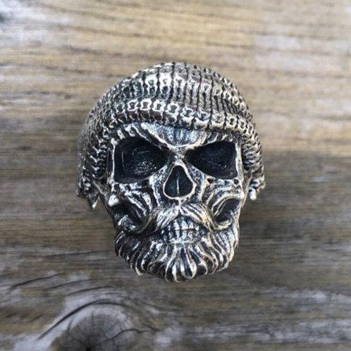 スカルリング サイズ調整可能 髑髏 ドクロ 髭 ターバン 帽子 スターリングシルバー 925 指輪 メンズ【E-104】