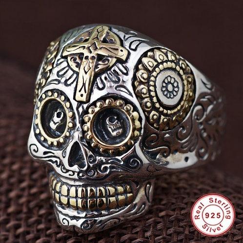 スターリングシルバー 925 メキシカン スカルリング 髑髏 ドクロ メンズ リング 指輪 Sterling Silver【E-94】