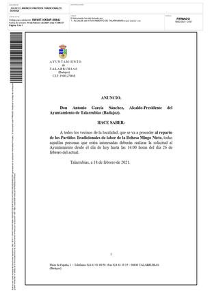 Reparto de los Partidos Tradicionales de labor de la Dehesa Mingo Nieto.
