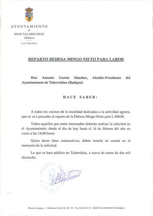 Reparto Dehesa Mingo Nieto.