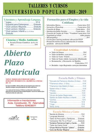 Oferta formativa UPT curso 2018/2019.