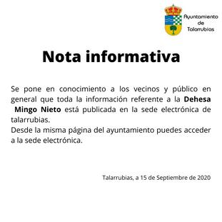 Nota informativa para las personas interesadas en el lote de la Dehesa Mingo Nieto.
