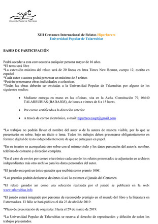 XIII Certamen Internacional de Relatos Hiperbreves.