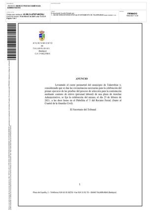 ANUNCIO DE CELEBRACION DEL LUGAR, FECHA Y HORA, DEL PRIMER EJERCICIO DE LA PLAZA AUX. ADMINISTRATIVO