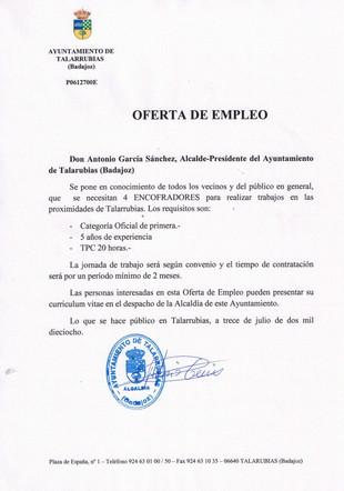 Oferta de empleo para 4 encofradores