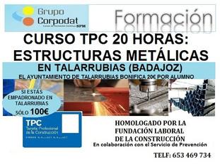 Cursos TPC 20 horas: Estructuras metálicas. Llamar al 653469734