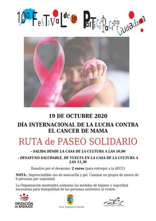 Día internacional de la lucha contra el cáncer de mama, 19 de octubre de 2020.
