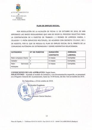 Anuncio y bases del plan de empleo social del Ayuntamiento de Talarrubias.