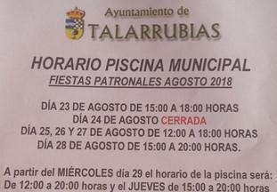 Horario de piscina municipal en las fiestas patronales.