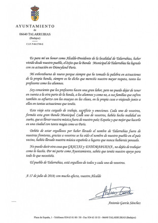 Carta de agradecimiento del alcalde a la BMM de Talarrubias.