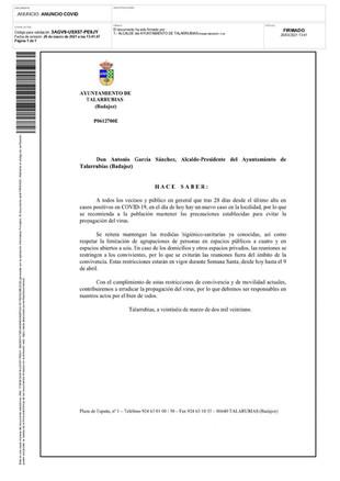 INFORMACIÓN COVID-19.