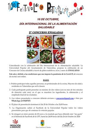 10º Festival de participación ciudadana. Día internacional de alimentación saludable, 16 de octubre.