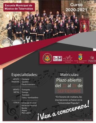 Escuela Municipal de Música de Talarrubias abierto el plazo para matriculas.