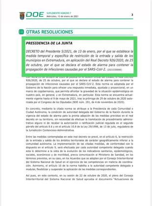 Medida temporal para la restricción de la entrada y salida de todos los municipios de Extremadura.