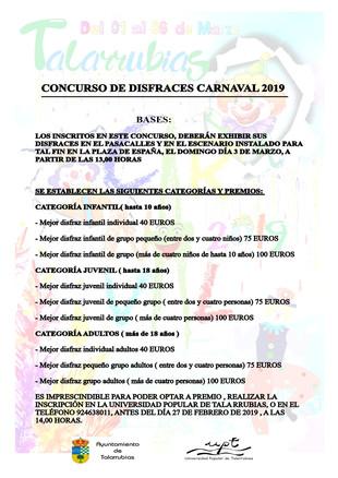 Concurso de disfraces Carnaval 2019.