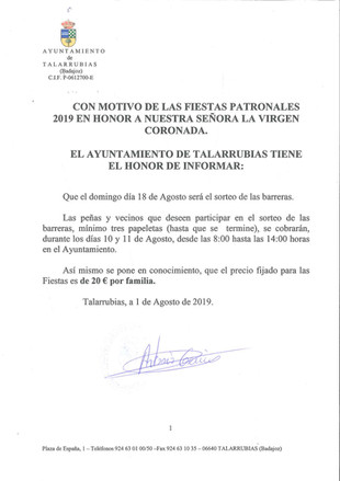 Anuncio Fiestas Patronales 2019.
