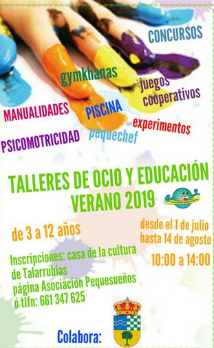 Talleres de ocio y educación verano 2019.