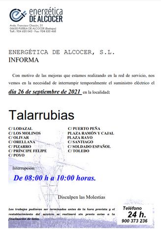 DESDE ENERGÉTICA DE ALCOCER INFORMAN:
