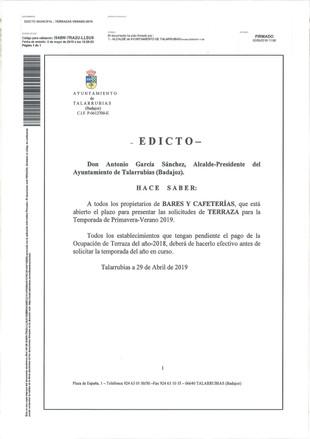 Edicto sobre solicitudes de Terraza y Bando sobre consumo de alcohol.