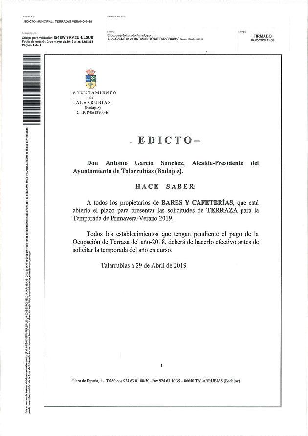 Edicto Sobre Solicitudes De Terraza Y Bando Sobre Consumo De