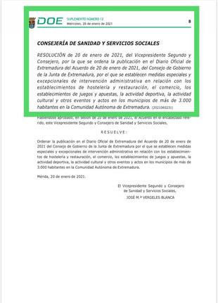 DOE en relación con la HOSTELERIA, COMERCIO, ACTIVIDADES DEPORTIVAS, CULTURALES... para + 3.000 hab.
