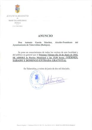 Apertura Piscina Municipal.
