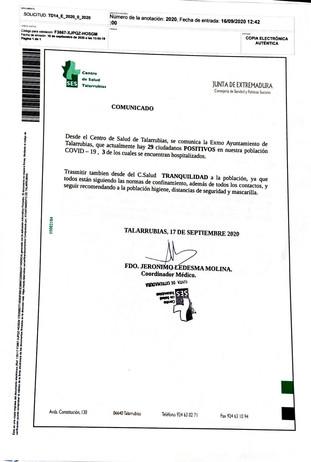 Comunicado del Centro de Salud de Talarrubias con la situación actual por los casos COVID-19.