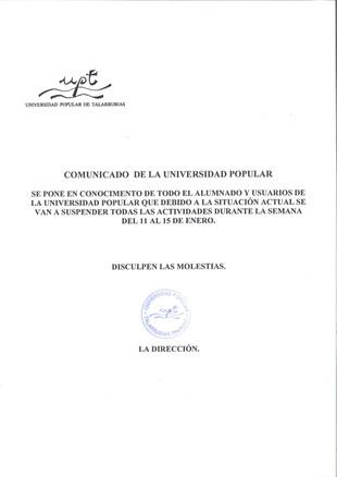 Comunicado de la Universidad Popular