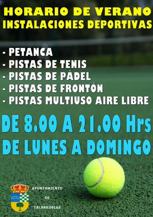 Horario de instalaciones deportivas Verano 2018.
