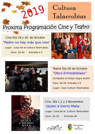 Próxima programación de Cine y Teatro.