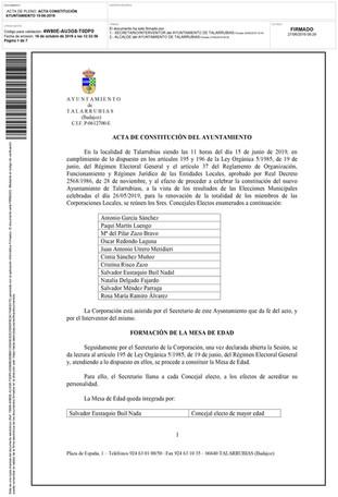 Acta de la primera sesión del pleno del Ayuntamiento y Acta de constitución.