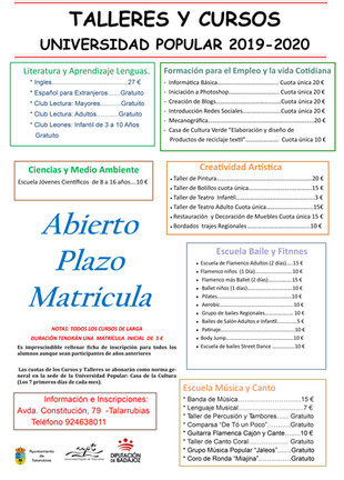 Talleres y cursos Universidad Popular 2019-2020.