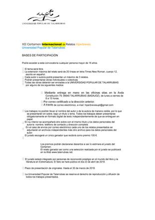 Bases del XII Certamen Internacional de Relatos Hiperbreves.