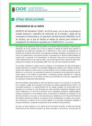 Publicado el DOE con las nuevas medidas, para frenar la incidencia de la Covid-19 en nuestra región.