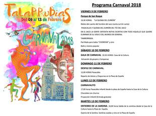 Cartel y programa de actos de los Carnavales 2018 de Talarrubias.