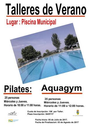 Talleres de verano de pilates y aquagym.