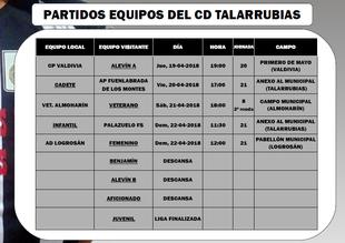 Horarios de los encuentros del CD Talarrubias.