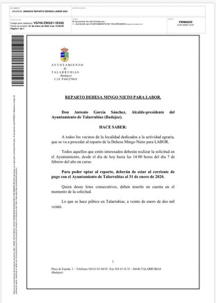 Reparto Dehesa Mingo Nieto para labor.